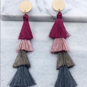 Julie Tassel Earrings- Magenta Multi
